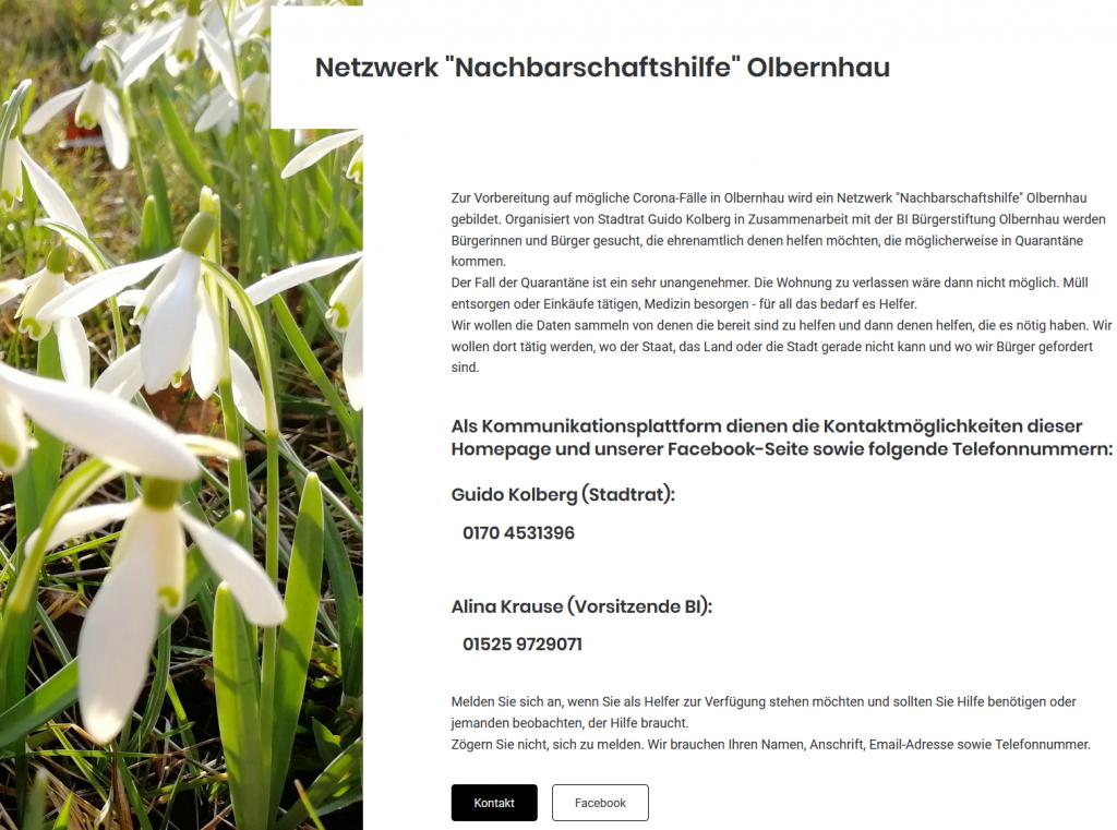 """Aufruf Netzwerk """"Nachbarschaftshilfe"""" Olbernhau"""